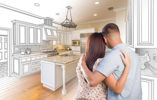 Young Military Couple Looking Inside Custom Kitchen and Design Drawing Combination.